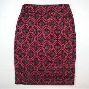 Vintage holiday pencil skirt red black S06